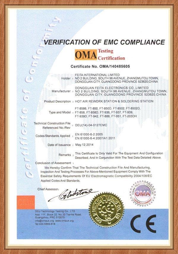 Feita Product Certificationfeita Tool Technical Informationfeita