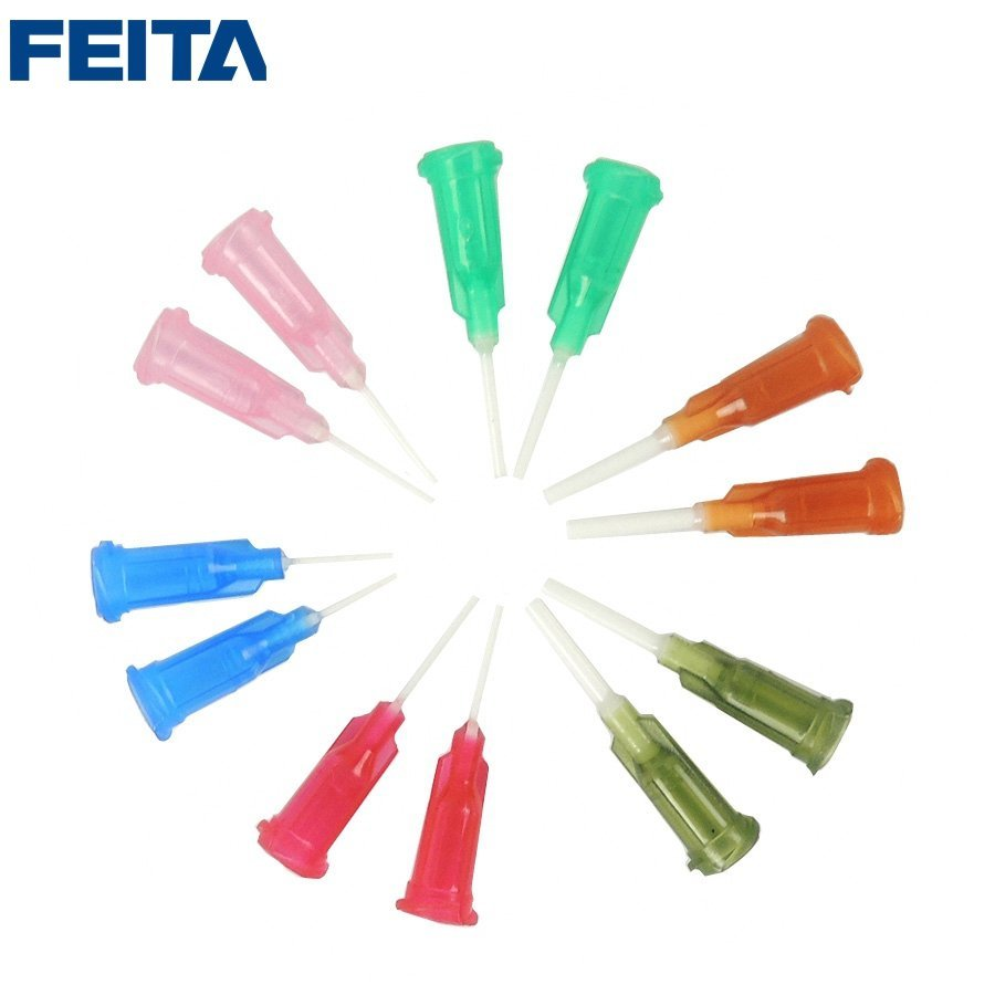 1/2'' 1'' 1.5'' 2'' Tip length, PP Flexible Syringe Blunt Needles Glue Dispensing Soft Needle Tips, 14G 15G 18G 20G 22G 25G Size