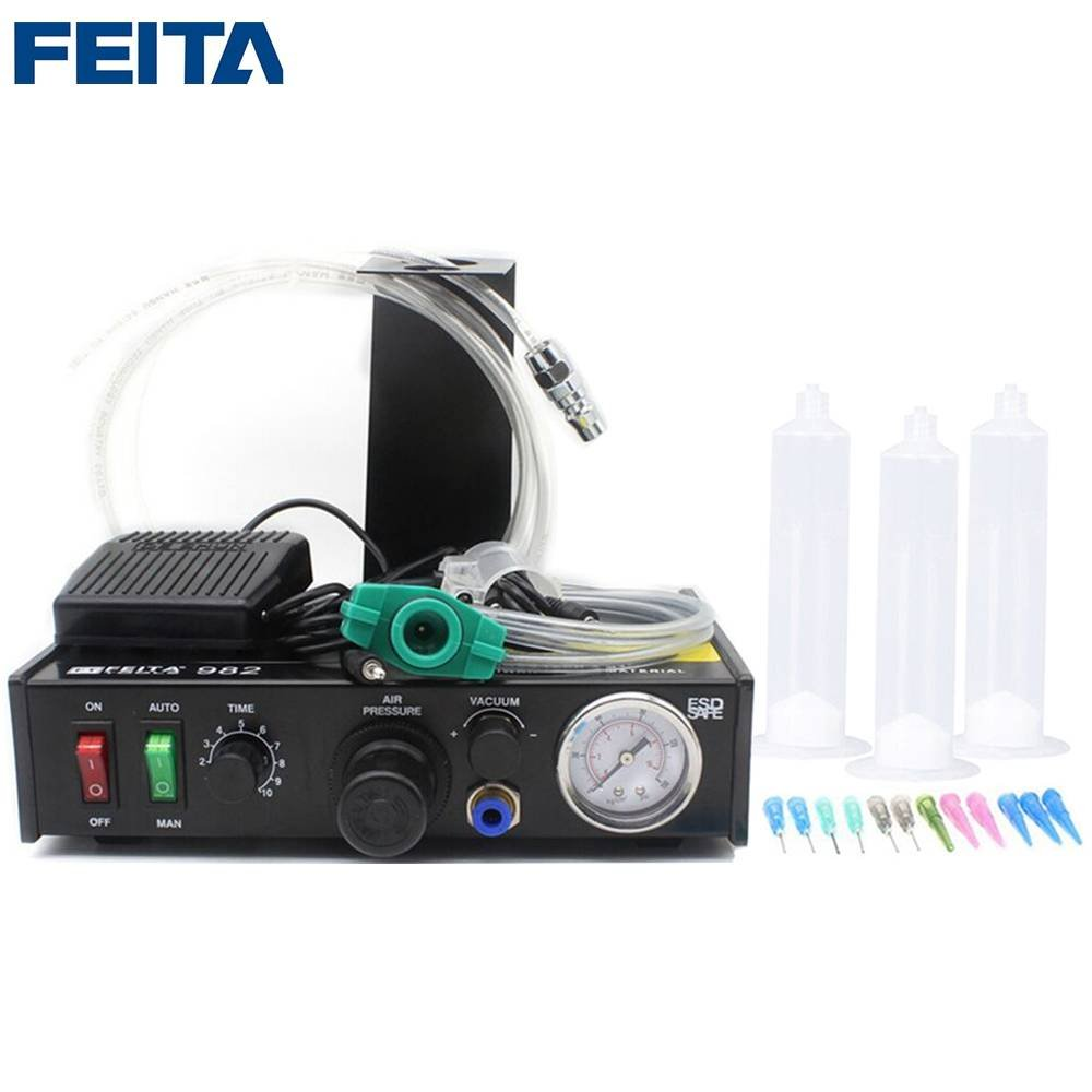 FEITA-982 Semi-automatic Soldering Paste Dispenser Glue Dispensers Dispensing Machine Equipment for LED, Electronics Label Stick